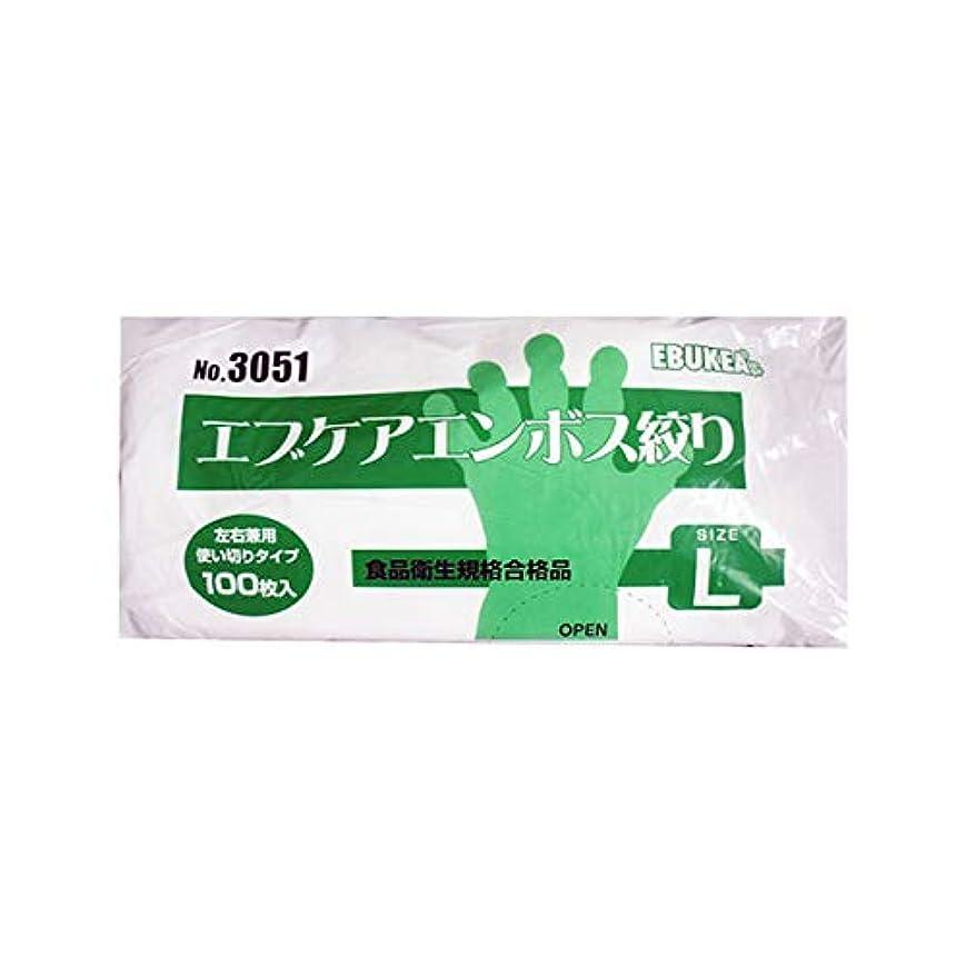 吸収するガード何もない使い捨て手袋 No.3051 食品加工用 エブケアエンボス絞り半透明 袋入 100枚X60パック Lサイズ エブノ