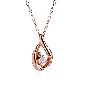 [キャーロ ディ ディアマンテ] CHIARO DI DIAMANTE K10ピンクゴールド×ダイヤモンド ティアドロップ(雫型)ペンダントネックレス CHD0009