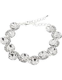 【ノーブランド品】ローマ 女性 水晶 白い腕輪 ブライダル 結婚式のブレスレット 宝石