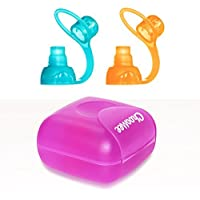 ChooMee SoftSip Food Pouch Tops | Orange Aqua + Purple Travel case | Prevent spills and Protect childs mouth [並行輸入品]