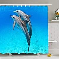 シャワーカーテンセットフック付き72x78遊び心ハッピーインフレンドリードルフィンデュオ野生の海バハマ斑点のある動物野生動物公園ポッド屋外用防水ポリエステル生地バスルーム用バスルーム装飾 200X180 CM