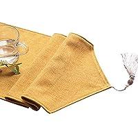 テーブルランナー テーブルランナーコットンとリネン無地環境に優しい素材雰囲気の結婚式 (色 : イエロー いえろ゜, サイズ さいず : 30X220CM)