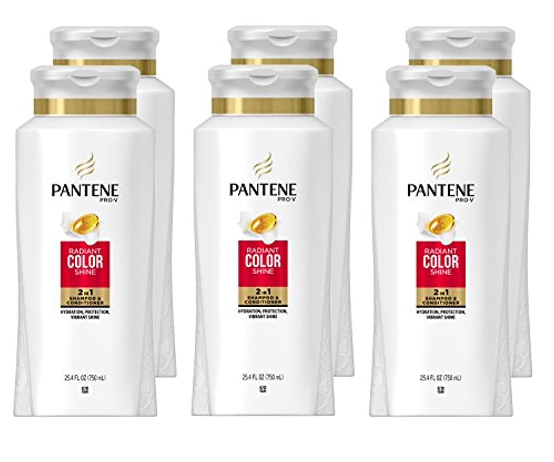 周辺嘆願バイオリニストPantene プロVラディアン色1シャンプー&コンディショナー、25.4液量オンスで磨き2(6パック)(梱包異なる場合があります)