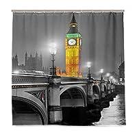LIASDIVA 防水 シャワーカーテン、夜のビッグベンとウェストミンスター橋英国ストリートリバーヨーロッパの外観、180x180cm丈バスカーテン パーソナライズされたファッションパターン装飾、カーテンフックC型 付き