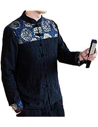Sodossny-JP メンズ中国スタイルコート秋コットンリネンフロッグボタンジャケットコート