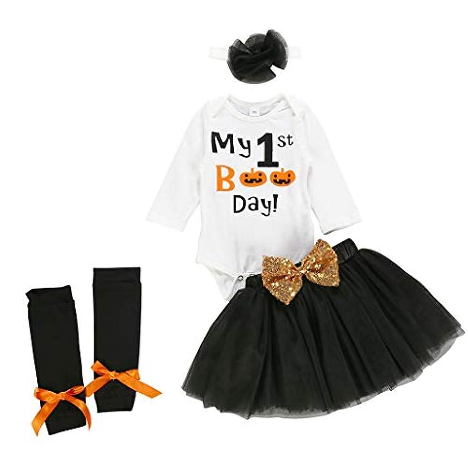 突破口一流マトリックスTovadoo 4PCS ハロウィン 子供 赤ちゃん女の子 衣装セット,幼児 子供 ハロウィーンの習慣 カボチャ 長袖 ロンパー+トゥトゥスカート+ヘアバンド+ソックス 衣装セット