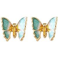 Dainty Butterfly Stud Earrings for Women Teen Girls Sterling Silver Post Enameled Tragus Pierced Ear Lobe Handcrafted Aquamarine Blue Green Cute Elegant Vintage Style Trendy Jewelry Gifts Kids