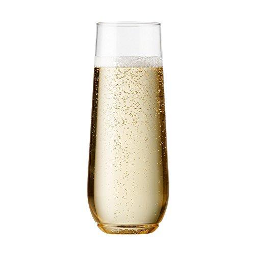TOSSWARE 9oz フルートグラス – 2個セット – BPAフリーリサイクル可能/プレミアムワンウェイ プラスチック製フルート シャンパングラス