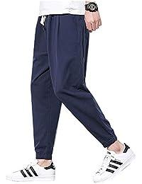 夏服 メンズ ズボン 夏 九分丈 麻 無地 調整紐 ゆったり 通気性 大きいサイズ ァッション カジュアル
