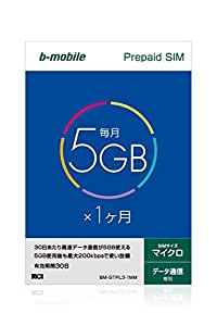 b-mobile 5GB×1ヶ月SIMパッケージ  (マイクロSIM) BM-GTPL3-1MM