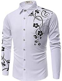 Keaac メンズカジュアル長袖ビジネス花のボタンダウンシャツ