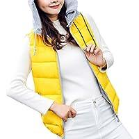 UUYUK Women Casual Zip Front Sleeveless Quilted Hoodie Gilet Vest Jacket