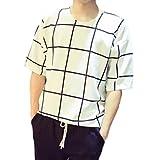(マジックショップス) メンズ T シャツ 半袖 トップス 大きいサイズ ロング 丈 カジュアル シンプル 格子 柄 (白 ホワイト L)