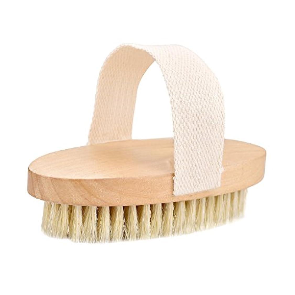 チラチラする車トラクターTumao ボディブラシ 豚毛 ソフト 背中 お風呂用 角質除去 全身マッサージ 血行促進 体洗いブラシ バスグッズ