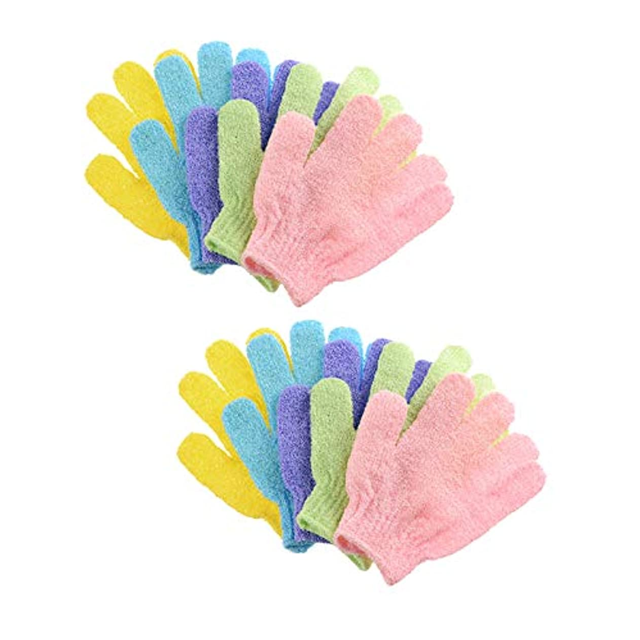 十年起こりやすい有彩色の浴用手袋 入浴用手袋 お風呂用手袋 5ペア角質除去バスグローブ 抗菌加工 ボディタオル シャワーボディーグローブ 両面スクラブバスグローブボディスクラブエクスフォリエーター用 男女兼用