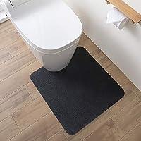Nico (ニコ) トイレマット ずれない 洗える はっ水 消臭 おくだけ吸着 ブラック 55×60cm PF-102【amazon限定ブランド】