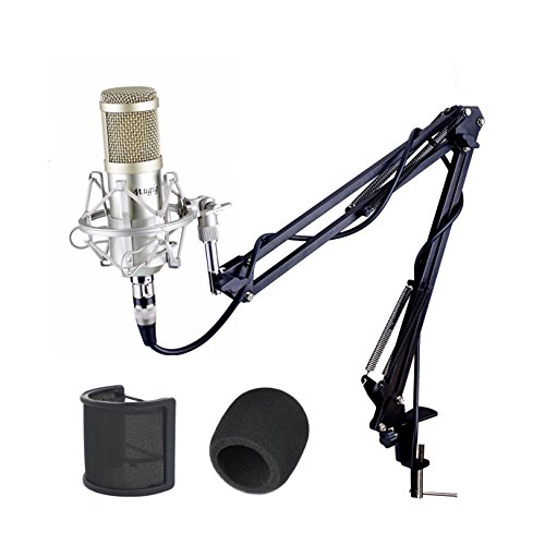 Mugig コンデンサーマイク スタジオ 単一指向性 スタンド付き 3.5ミニプラグ 生放送、録音など用