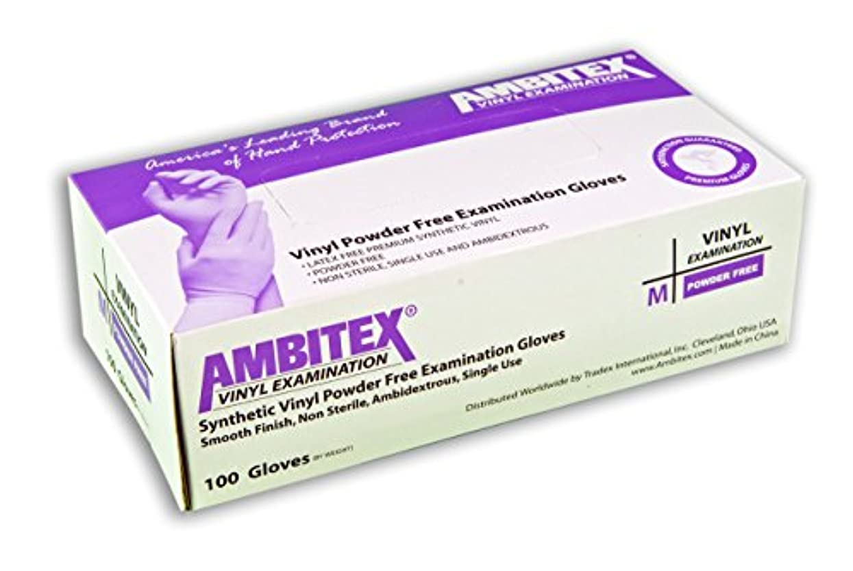 Ambitex Disposable Vinyl Exam Gloves Powder Free (10 Boxes of 100 Gloves Each, Total of 1000 Gloves) - Size Medium...
