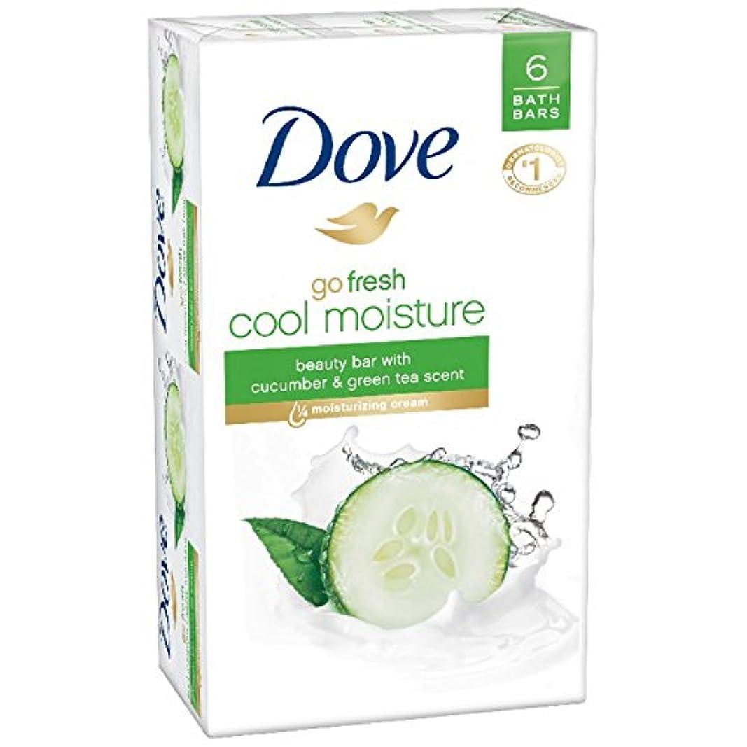 Dove 新鮮な美しさバー、キュウリ、緑茶4オンス、6バーを移動します
