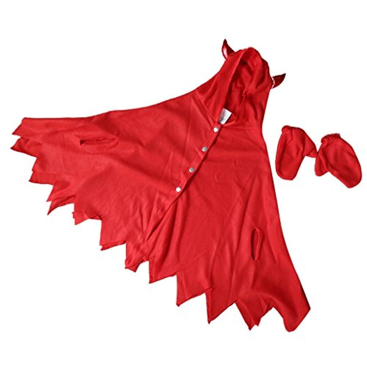 株式会社ぼんやりした広告するPETSOLA 悪魔の衣装 ドレス クローク 手袋 仮装 女の子 キッズ パーティー コスプレ パーティー 赤