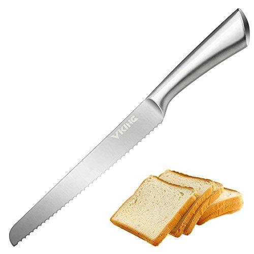 VKINGパン切りナイフ パン切り包丁 パン用ナイフ ブレッドナイフ 切れ味抜群 波刃 刃渡り23cm ステンレス 一体化 食洗機対応 パン屋用 業務用 家庭用 (ステンレス)