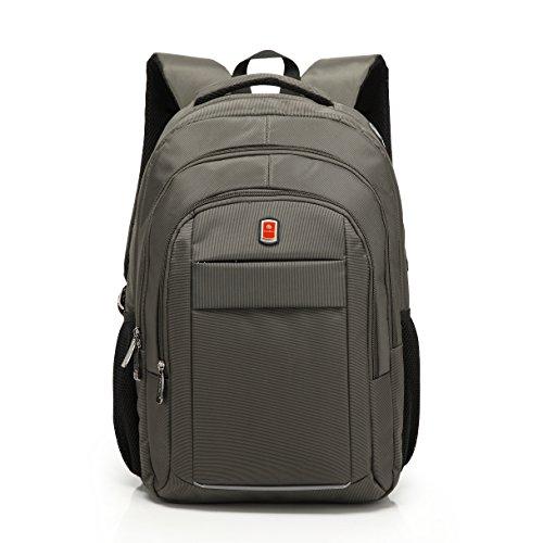 QANSI リュック バックパック デイパック ビジネス パソコン収納 メンズ 大容量 旅行 多ポケット 17~17.3インチワイドサイズPC対応 ポリエステル 灰緑色