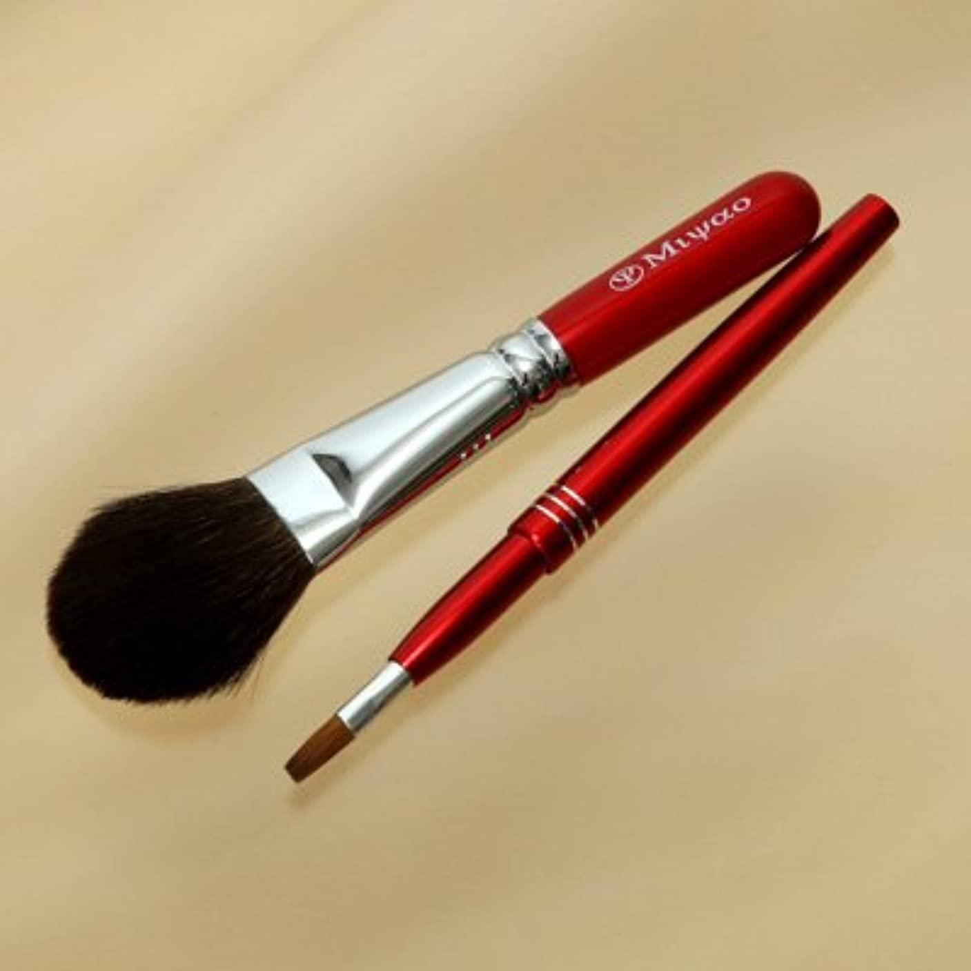 メタリック火まもなく熊野化粧筆メイクブラシ2点セット [灰リス100%チークブラシ(S)&携帯リップブラシ]レッドパール