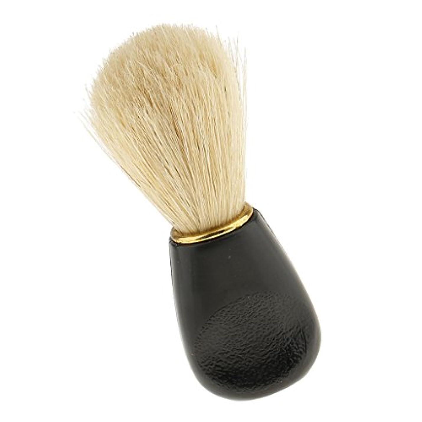 文言昇進望まないKesoto プラスチック ハンドル メンズ シェービングブラシ 髭剃り 泡立ち ソフト ブラシ 全2種類 - ブラック