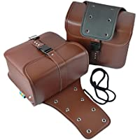 (アグロス) バイク サイドバッグ 2個 セット ブラック ツーリング 防水 大容量 アメリカン (ブラウン)