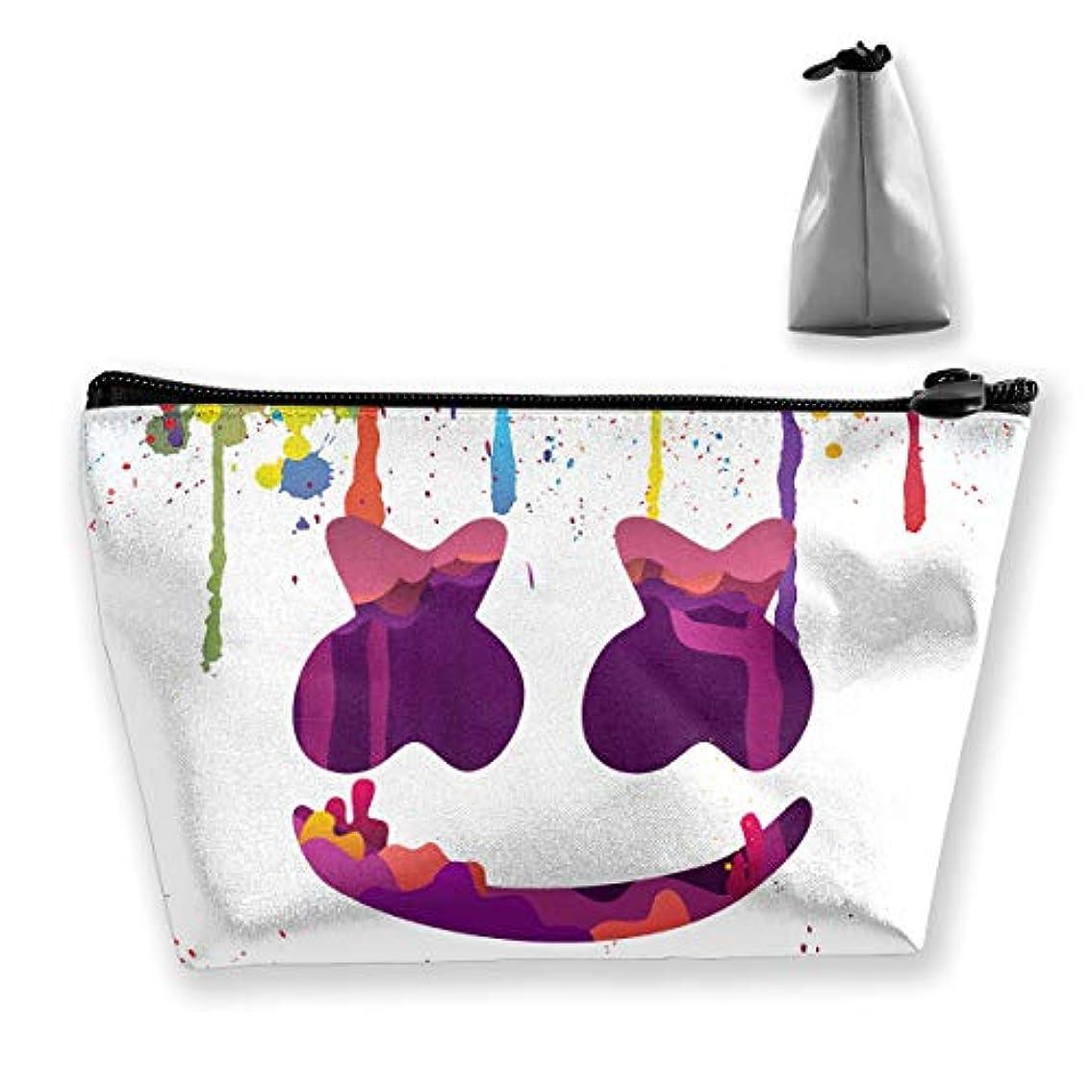 定規ピクニックをする配置Marshmello 台形 化粧ポーチ メイクポーチ コスメポーチ 化粧品収納 軽い 防水 便利 小物入れ 携帯便利 多機能 バッグ