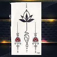 JFTH-HF 黒の一時的な入れ墨ヒマワリの葉ローズヘナタトゥーのために女の子女性Tattosボディ胸手足首アート水移送タトゥー (色 : PT071)