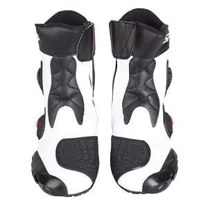 NEW!強化防衛性PRO★スポーツバイク用レーシングブーツ/オートバイ靴 SPEED◆ホワイト&約25.5-26CM