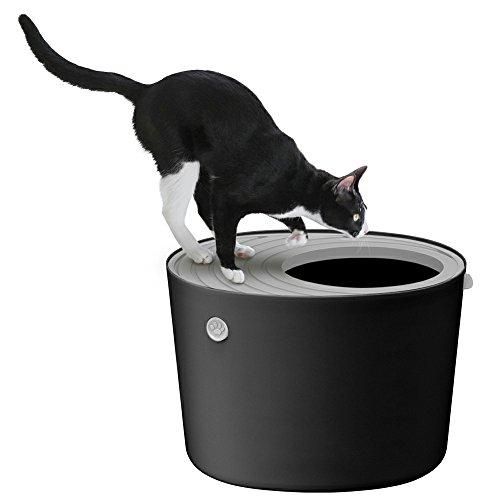 アイリスオーヤマ 上から猫トイレ ブラック レギュラー