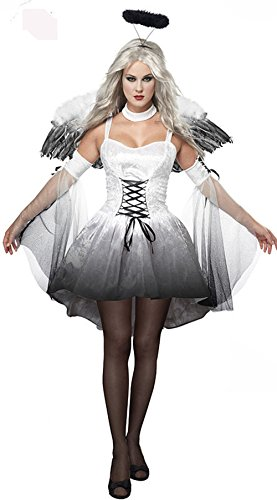 Nekocat 大人レディース用コスプレ衣装 悪魔変装 堕天使 コスチューム仮装 ワンピース 白