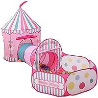 子供の遊びのテントトンネル赤ちゃん遊び家屋内遊園地簡単な折り畳みクロール (Color : Pink, Size : 324 * 128 * 104cm)