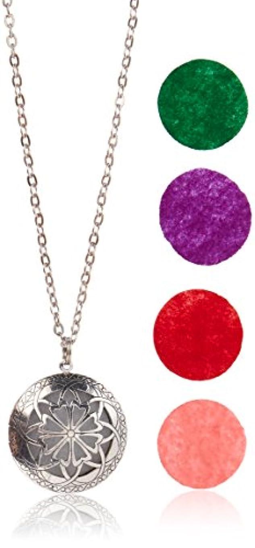 習字アンソロジー右Aromatherapy Diffuser Necklace Pendant for Essential Oils. 1.15 Antique Silver Round Locket with Two Chains (21...
