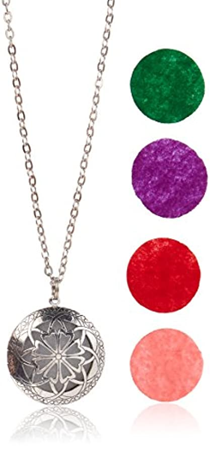 健康ペレグリネーション聖歌Aromatherapy Diffuser Necklace Pendant for Essential Oils. 1.15 Antique Silver Round Locket with Two Chains (21...