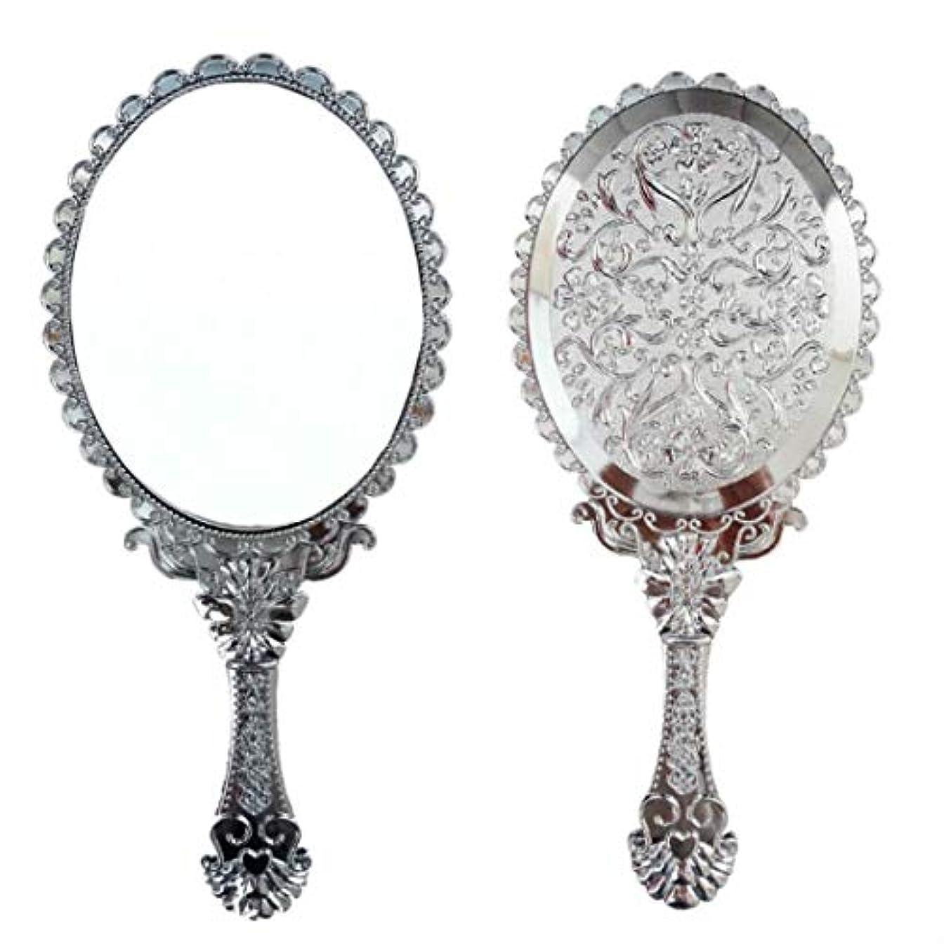 治療添付引く送料無料 トゥインクル 楕円の鏡 メイク ポーチ 化粧 ミラー 手鏡 姫系ハンドミラー シルバー