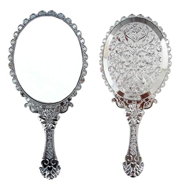 送料無料 トゥインクル 楕円の鏡 メイク ポーチ 化粧 ミラー 手鏡 姫系ハンドミラー シルバー