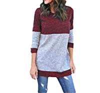 Wilngo Women's Casual Pullover Sweater Long Sleeve Crewneck Colorblock Sweater Red M
