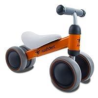 バランスバイク ミニ乗用車 組立式 赤ちゃんのおもちゃ 1-3歳 軽量 ミニ三輪車 お誕生日 プレゼント 4輪 ペダルなし自転車(オレンジ)