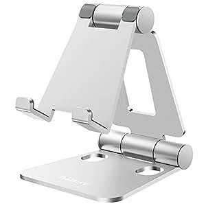 Nulaxy スマホスタンド 折り畳み式 270°角度調整可能 iPad/タブレット/iPhone スタンド Nintendo Switchにも対応 銀