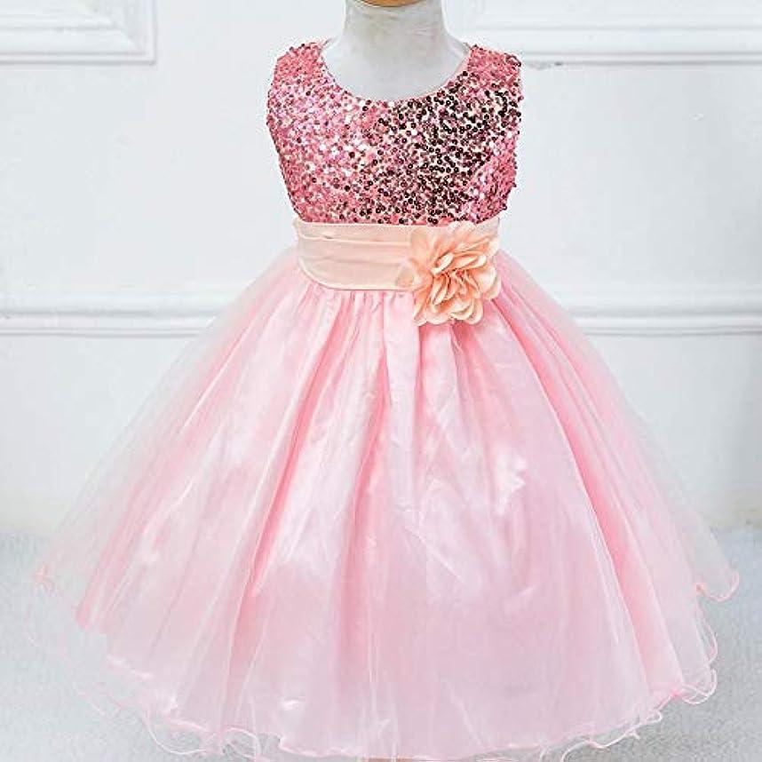 るシャット出席する女の子プリンセスドレスハロウィン子供服夏フラワーガールドレスシンデレラ衣装ショードレス-ピンク100 cm
