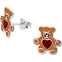 Teddy Bear Brown with Love Heart Sterling Silver Stud Earrings for Girls Children by Kate Benson