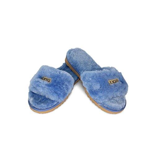 UGG Australian Made since 1974(アグオーストラリアメイド1974) アグ デザイナー ファー サンダル 室内 内履きタイプ (カントリーブルー・サイズ 6) 【正規輸入品】