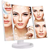 Jieway Tri-Fold Lighted Vanity Makeup Mirror with LED Lights, Touch Screen, Adjustable Brightness Table Top Lamp Mirror 1X / 2X / 3X / 10X (White)