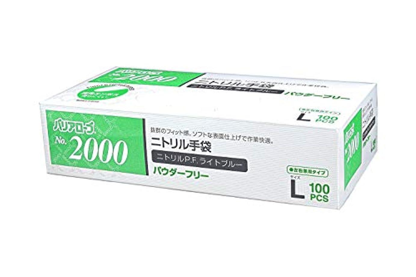 勃起一族方向【ケース販売】 バリアローブ №2000 ニトリルP.F.ライト ブルー (パウダーフリー) L 2000枚(100枚×20箱)