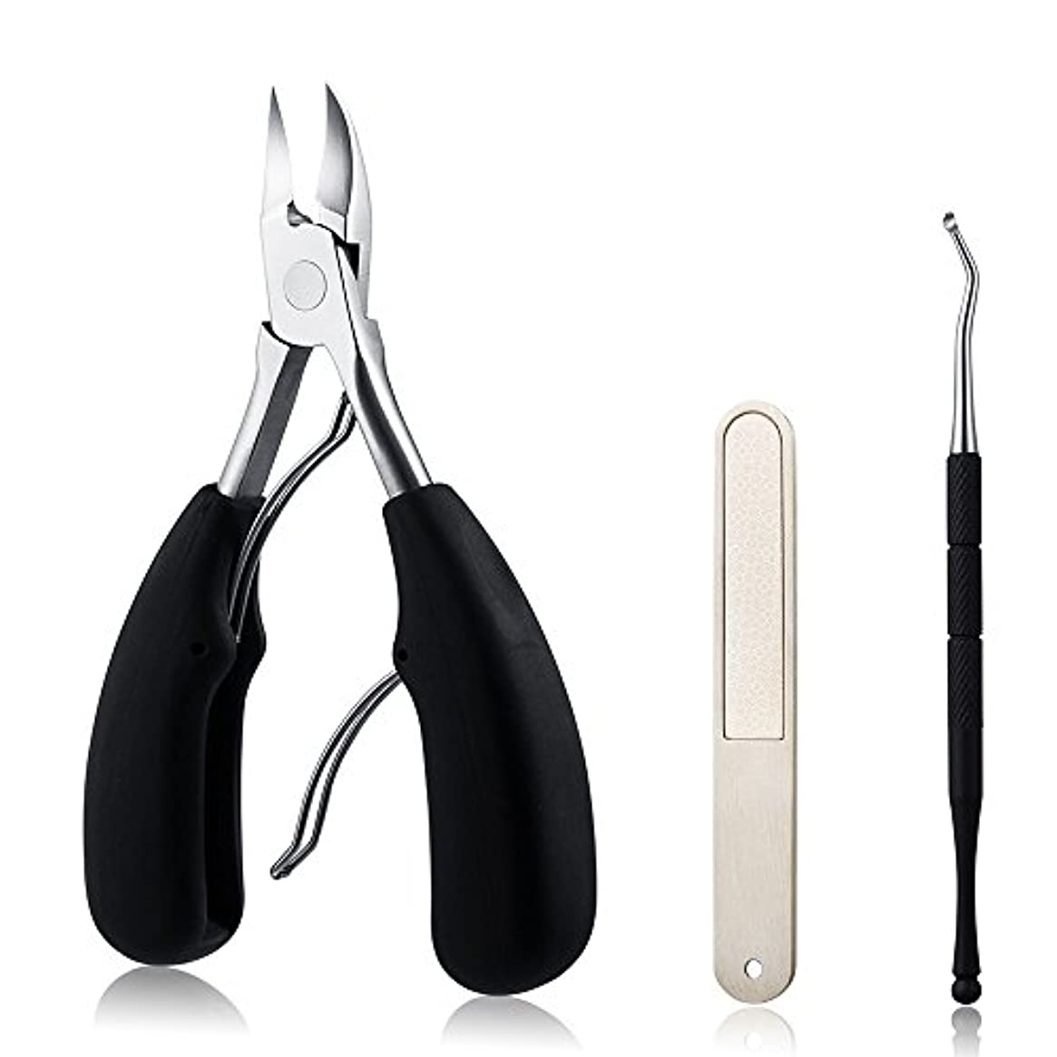 模倣ボックス上級ABC life 爪切り ニッパー 巻き爪 厚い爪など対応 ネイルニッパー ゾンデ付き 爪やすり付きセット(ブラック)