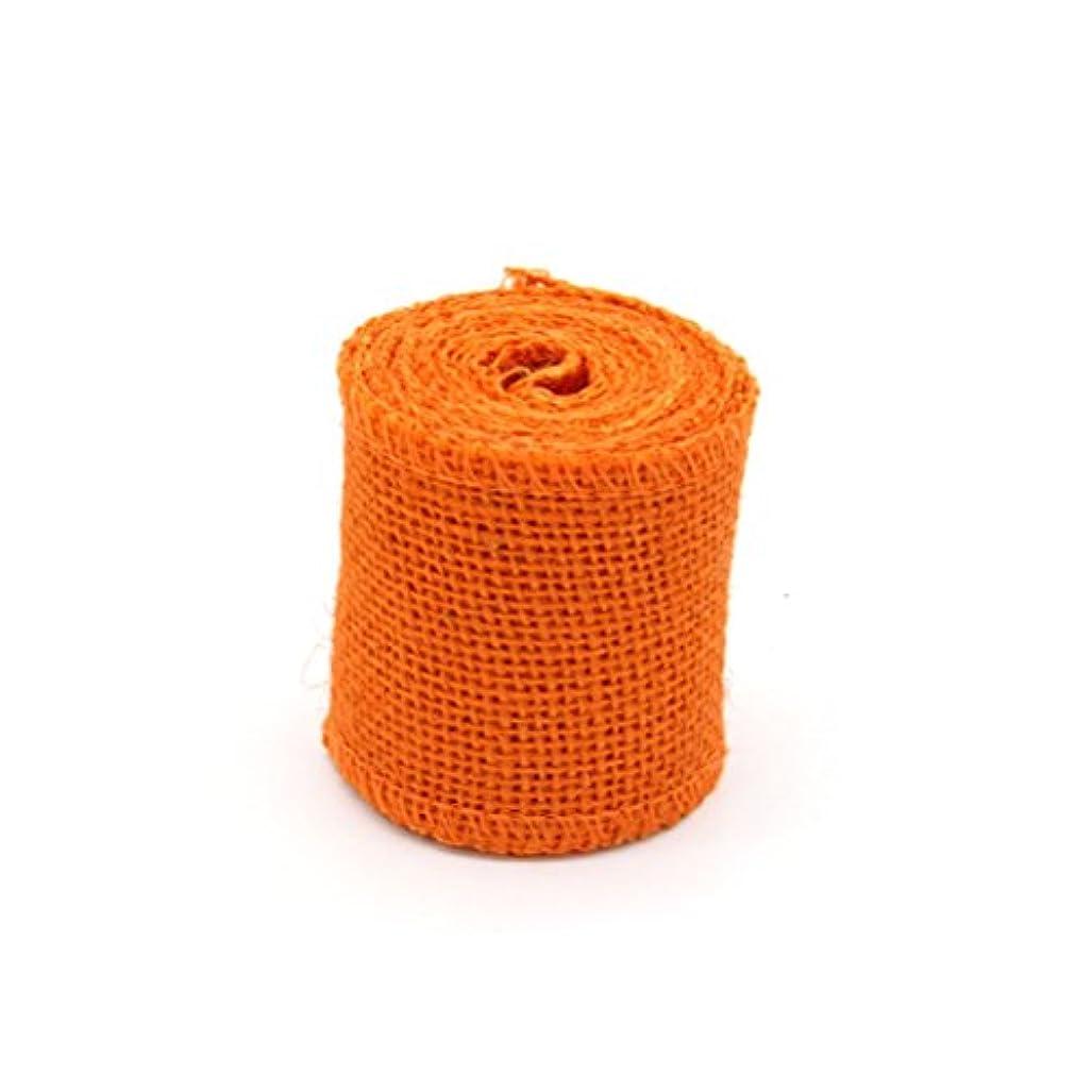 モードリン弱める毎年Toyvian クリスマスデコレーション用2M Jute Burlapリボンロール(オレンジ)