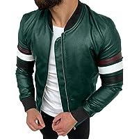 Mens Motorcycle Slim Stylish Pu Leather Zip Rugged Jackets
